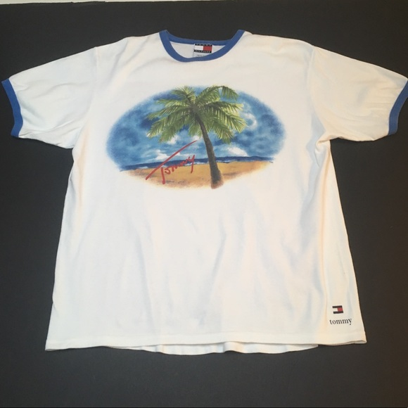 bc62a560b4b8 Vintage 90s Tommy Hilfiger Ringer Tee Beach Hiphop.  M 5a92e27e46aa7c7aaca1fdc4